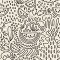 Vector fruit seamless pattern in Doodle style. Watermelons