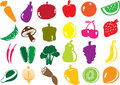 Vector fruit and vegetables icons illustration in format Royalty Free Stock Image