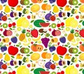 Vector fruits and vegetables seamless pattern