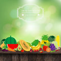 Vector fruits and vegetables on wooden table with fresh spring green bokeh sunlight background illustration template design Stock Photos
