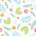 Vector fun tropical summer hawaiian seamless pattern with tropical plants, leaves, and hibiscus flowers on white Royalty Free Stock Photo