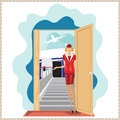 Vector funny airplane stewardess invites to travel. Royalty Free Stock Photo
