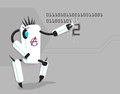 Vector funny anarchic robot writing number Royalty Free Stock Photo