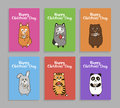 Vector funny animals cards for childrens day