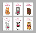 Vector funny animals hand drawn picture for Valentines Day