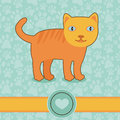 Vector funny cartoon cat on blue background Royalty Free Stock Images