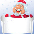 Vector Funny cartoon Santa Claus with paper scroll Royalty Free Stock Photos