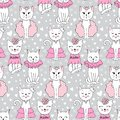 Vector funny cat seamless pattern. Cute kitten hand drawn illust