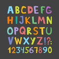Funny comics font. Hand drawn lowcase and uppercase colorful cartoon English alphabet with lower and uppercase letters. Vector ill