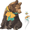 Vector funny hipster bear watching bee cartoon with bow a flying over a bright flower Stock Photography