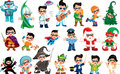 Vector funny illustration with a boy character in different postures