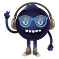 Vector funny monster with headphones and glasses hipster character Stock Photos