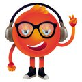 Vector funny monster with headphones and glasses hipster character Stock Image