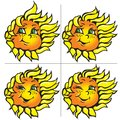 Vector funny sunflowers with a smile Royalty Free Stock Images