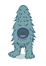 Vector furry blue monster big mouth Royalty Free Stock Images