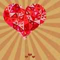 Vector futuristic geometric heart on grunge background Royalty Free Stock Photo