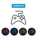 Vector gamepad icon. Joystick imaige. Simple thin line design.