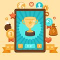Vector gamification concept achievement icons digital device with touchscreen and game interface on it with award and on Royalty Free Stock Photo