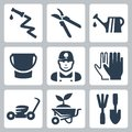 Vector gardening icons set hose and pruner watering can bucket gardener gloves lawn mower wheelbarrow and plant ripper and spatula Royalty Free Stock Images
