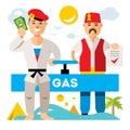 Vector Gas pipeline Russia - Turkey. Flat style colorful Cartoon illustration.