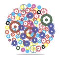 Vector gear illustration of colorful mechanisms hours Royalty Free Stock Photography