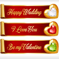 Vector Gem Hearts and Red Ribbons horizontal Banners set Royalty Free Stock Photo