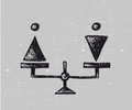 Vector gender equality illustration. Man and woman on scales