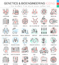 Vector Genetics and biochemistry color flat line outline icons for apps and web design. Genetics chemical high