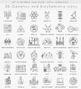 Vector Genetics and biochemistry technology ultra modern outline line icons Royalty Free Stock Photo