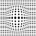 Vector geometric dotted 3d seamless pattern with dotted different sized circles