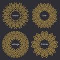 Vector geometric frame in trendy mono line style art deco golden monogram design element on dark background Royalty Free Stock Images