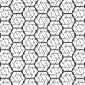 Vector geometric pattern. Modern stylish texture with monochrome trellis. Repeating geometric triangular line and hexagon line.