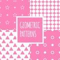 Vector geometric pink seamless patterns set. Baby