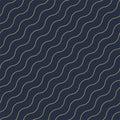 Vector geometric seamless diagonal wavy pattern - goldish striped rich texture. Stylish blue background
