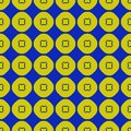 Vector geometric lime green and blue seamless pattern with circles, squares.