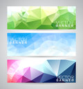 Vector geometric triangles banner background set abstract polygonal design Stock Photo
