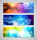Vector geometric triangles banner background set abstract polygonal design Stock Images