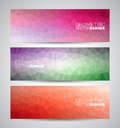 Vector geometric triangles banner background set abstract polygonal design Stock Photography