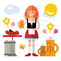 Vector German woman with Beer. Flat style colorful Cartoon illustration.