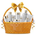 Vector Gift Basket with Cosmetic Packaging Royalty Free Stock Photo