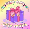 Vector gift box on colored background with confetti