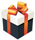 Vector gift box with orange silk ribbon and bow Stock Photography