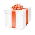 Vector gift box with red bow ribbon isolated on white Stock Photo