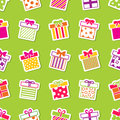Vector gift boxes green seamless pattern