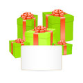 Vector gift boxes with red bow ribbon. Stock Photo