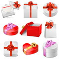 Vector gift packing icons on white background Royalty Free Stock Photos