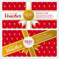 Vector gift voucher or business card template. Summer design with strawberry texture background. Royalty Free Stock Photo