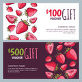 Vector gift voucher, summer design with red strawberries. Business card template. Royalty Free Stock Photo