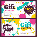 Vector gift voucher with watercolor colorful splashes, blots, st