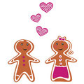 Vector Gingerbread People - Couple on white Royalty Free Stock Images